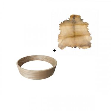 """Pack Cadre Ash Wood pour tambour sur cadre (chamane) 18"""" + peau de chèvre parcheminée"""