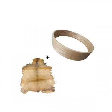 """Pack Cadre Ash Wood pour tambour sur cadre (chamane) 20"""" + peau de chèvre parcheminée"""