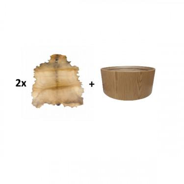 """Pack Cadre Ash Wood pour tambour sur cadre (chamane) double peau 24"""" + peau de chèvre parcheminée"""