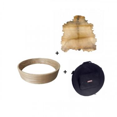 """Pack Cadre Ash Wood pour tambour sur cadre (chamane) 18"""" + peau de chèvre parcheminée + 1 housse deluxe"""
