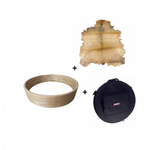 """Pack Ash wood drum frame 20"""" and goat skin with a deluxe bag"""