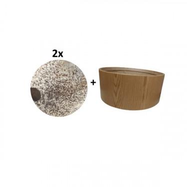 """Pack Cadre Ash Wood pour tambour (chamane) double peau 24"""" + 2 peaux de vache avec poils"""