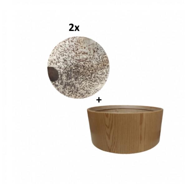 """Pack Cadre Ash Wood pour tambour (chamane) double peau 30"""" + 2 peaux de vache avec poils"""