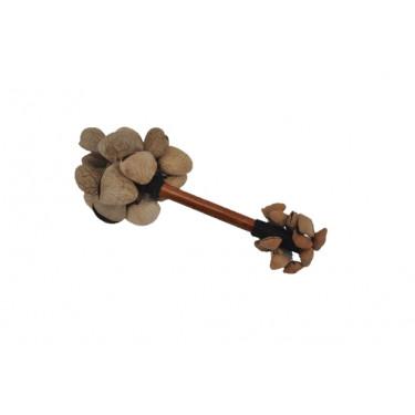 Crécelle sur manche double - graines de pangi / kenari - Roots