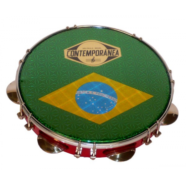 """Pandeiro formica 10"""" - Contemporânea - drapeau Brésil"""