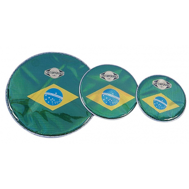 Drumhead - prismatic - 14 in - Brazilian flag - Contemporãnea