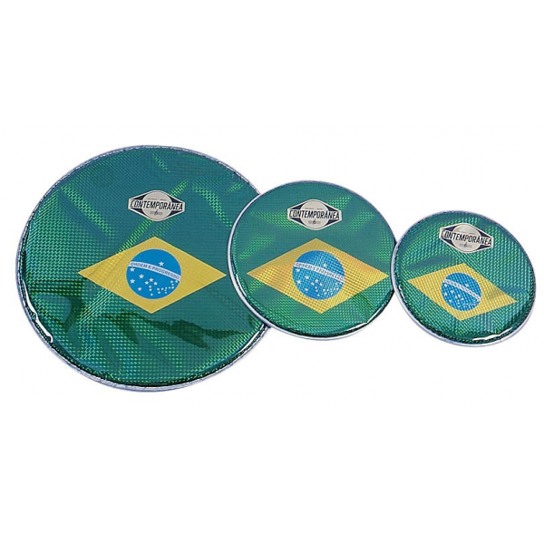 Drumhead - prismatic - 6 in - Brazilian flag - Contemporãnea