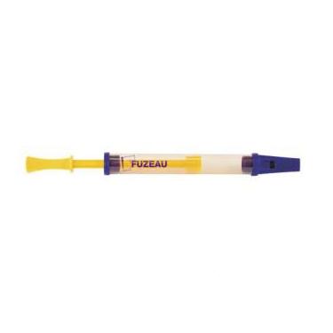 Flûte à coulisse en plastique - modèle transparent jaune & violet