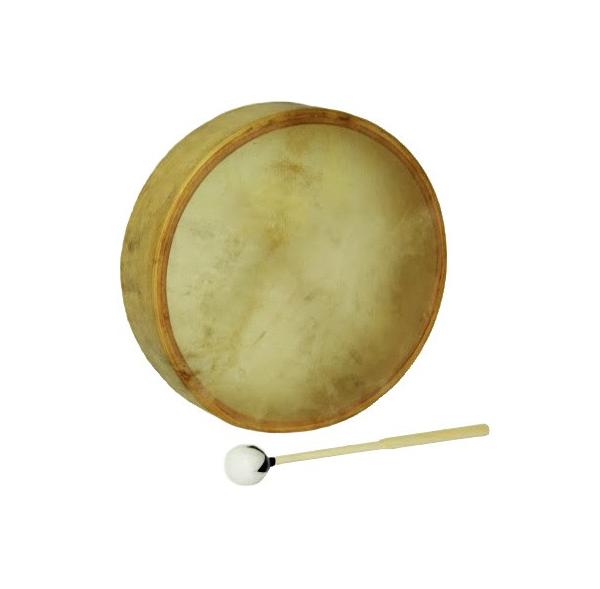 """Tambour chamane - Native Drum - Peau de vache parcheminée - 16"""""""