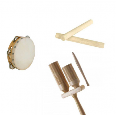 "Pack 3 instrument ""Claves - Tube 2 tons - Tambourin"""