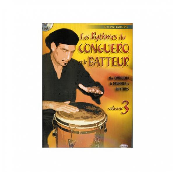 """Les rythmes du conguero & le batteur, vol 3 (""""The Conguero's rhythms and the drmmer""""), by Jean Paul Boissière - Book + cd"""