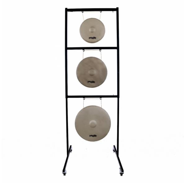 Stand de gong pour 2 gongs - portique en métal réglable et sur roulettes - Paiste