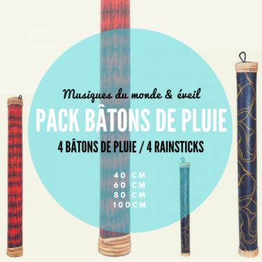 Pack 4 Rain Sticks - Roots Percussions