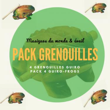 Pack 4 Grenouilles Guïro en bois - Roots Percussions