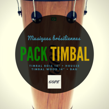 """Timbal Bois 14"""" x 70 cm - 6 Tirants - Cercle Noir - Gope"""