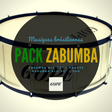 "Pack Zabumba Gope Alu 20"" x 20 cm + housse deluxe Roots Percussions"