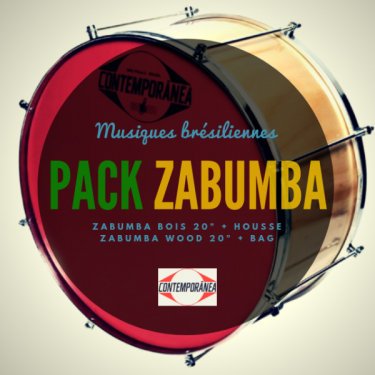"""Pack Zabumba Contemporânea 20"""" x 20 cm bois + housse deluxe Roots Percussions"""