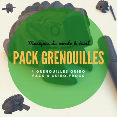 Pack 4 Grenouilles Guïro en bois noir - Roots Percussions