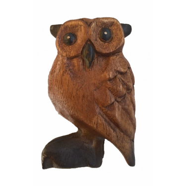Wooden owl bird calls and sounds - 10 cm